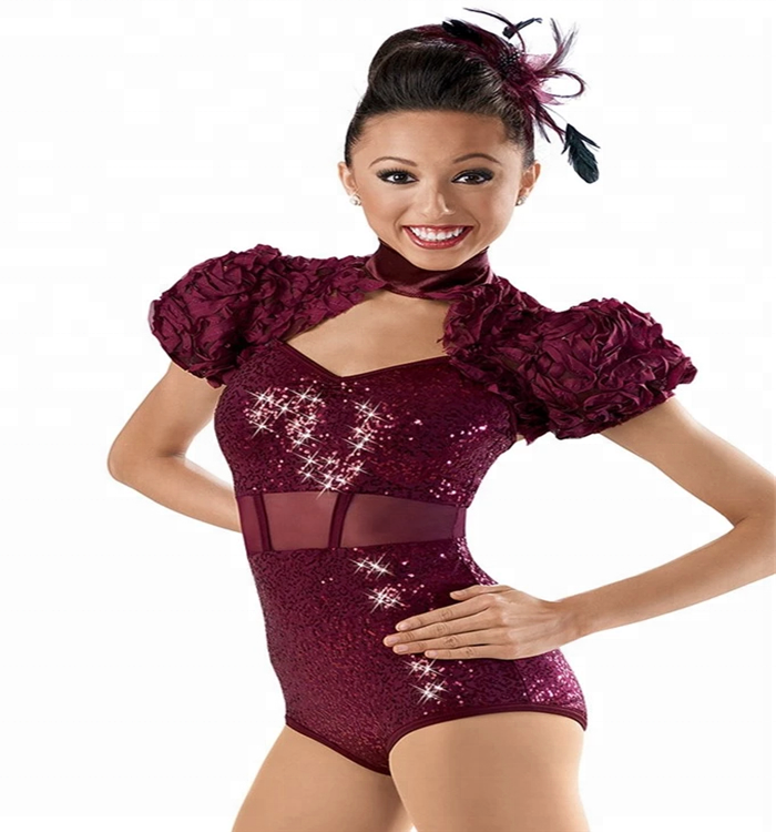 new adult girls Latin jazz dance costumes Claret sequin dance leotard flower puff sleeve Professional competition dance wear