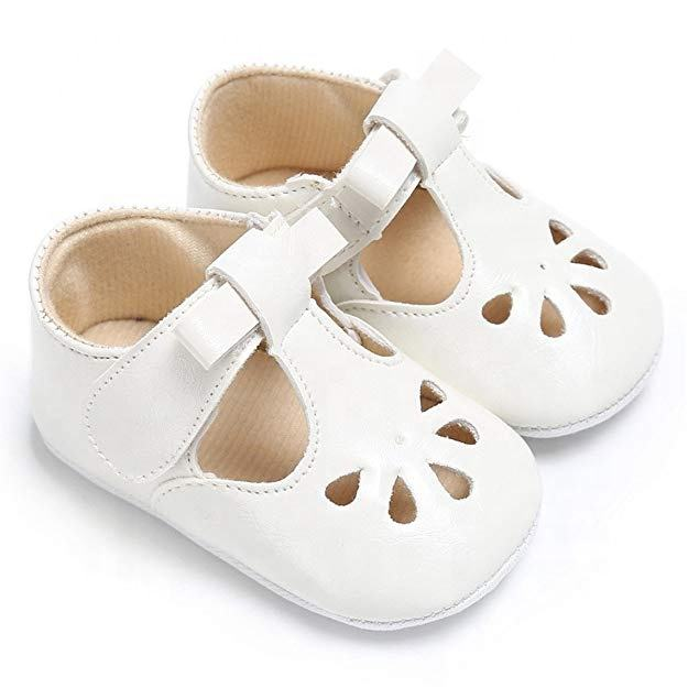Latest Shoe Design White Baby Shoes Manufacturers Unisex Leather Soft Sole T-bar Infant Shoes