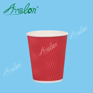 disposable custom printed kraft ripple wall paper coffee cups