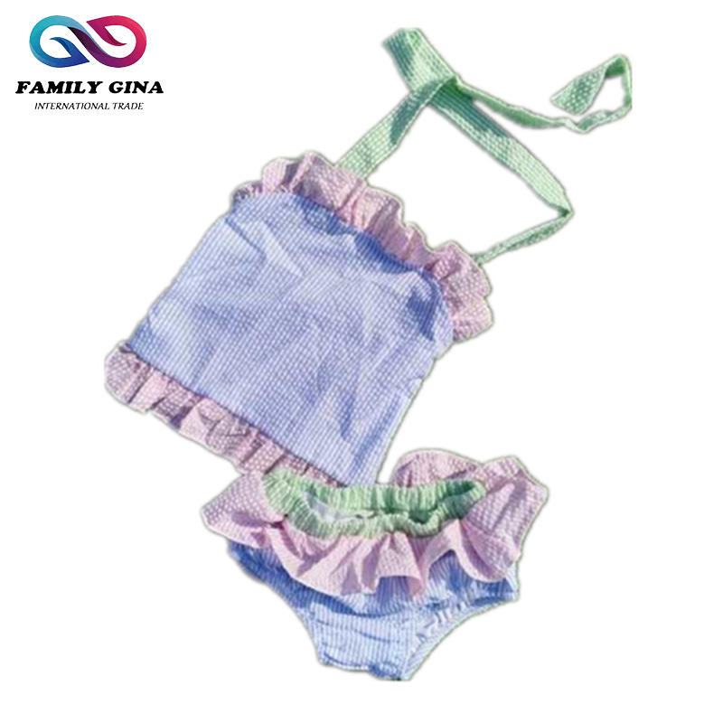 Wholesale Personalized Seersucker One-pieces Baby Girls Swimsuit