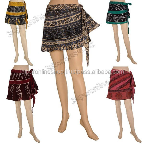 Latest Indian Handmade Sanganeri Adjustable Wrap Skirt from India