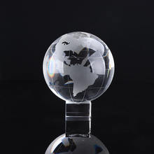 Decorative Round Ball Shaped Clear Glass World Globe Crystal Earth Globe