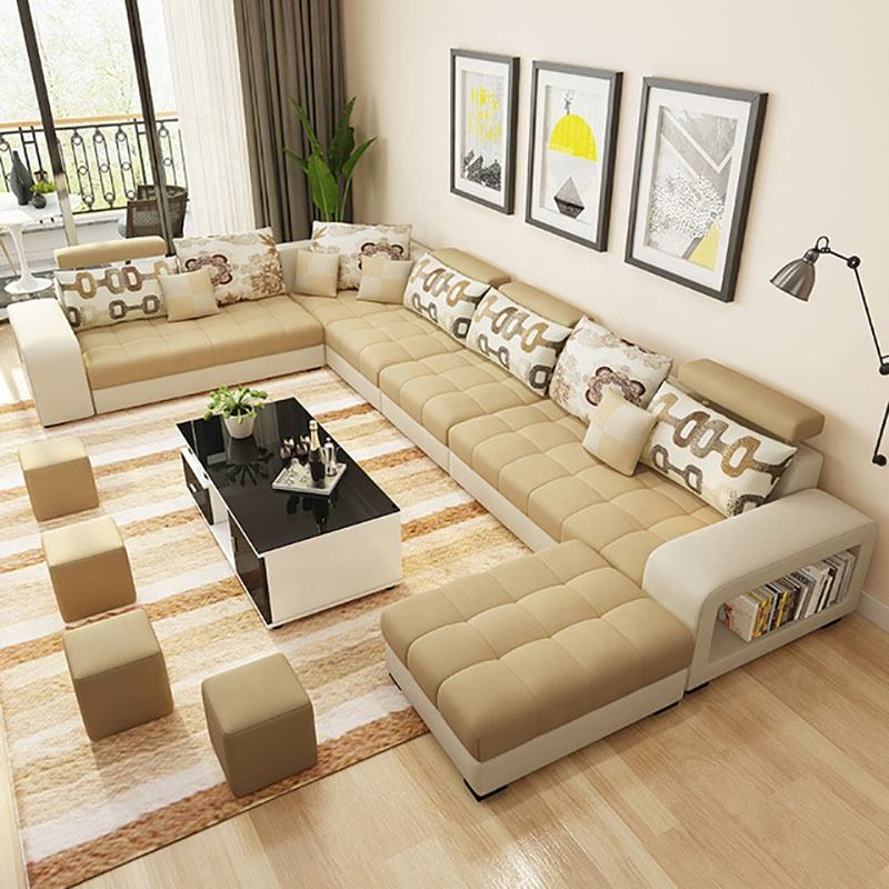 Living Room Furniture U Shaped Fabric Sectional Sofa Corner Sofa