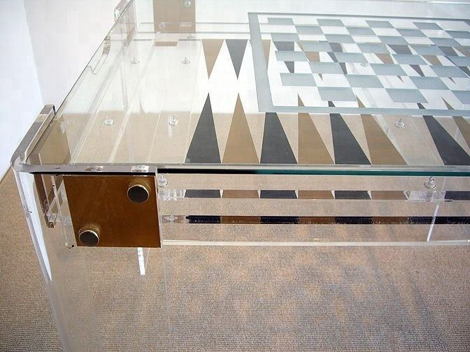 Modern Lucite Acrylic Board Game Table