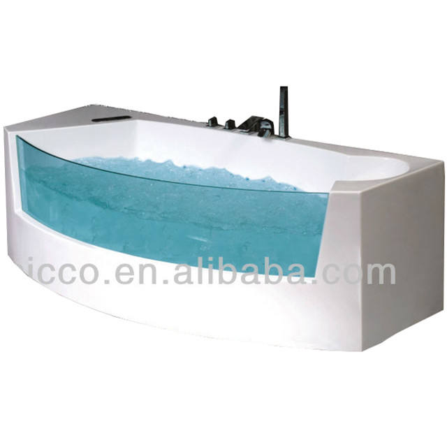 Acrylic Corner Transparent Massage Bathtub