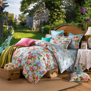 Tidebuy Company High Quality Latest European Floral Design Sand Soft Quilt Cover , Sheets Bed Set