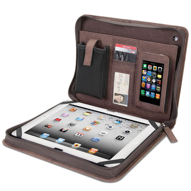 Best Quality Multifunctional Document Bag Phone Pocket A4 Zippered Brown Leather Portfolio for iPad Air