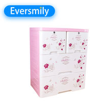 3 layers large storage box plastic cabinets wardrobe plastic tool baby clothes drawer with key lock