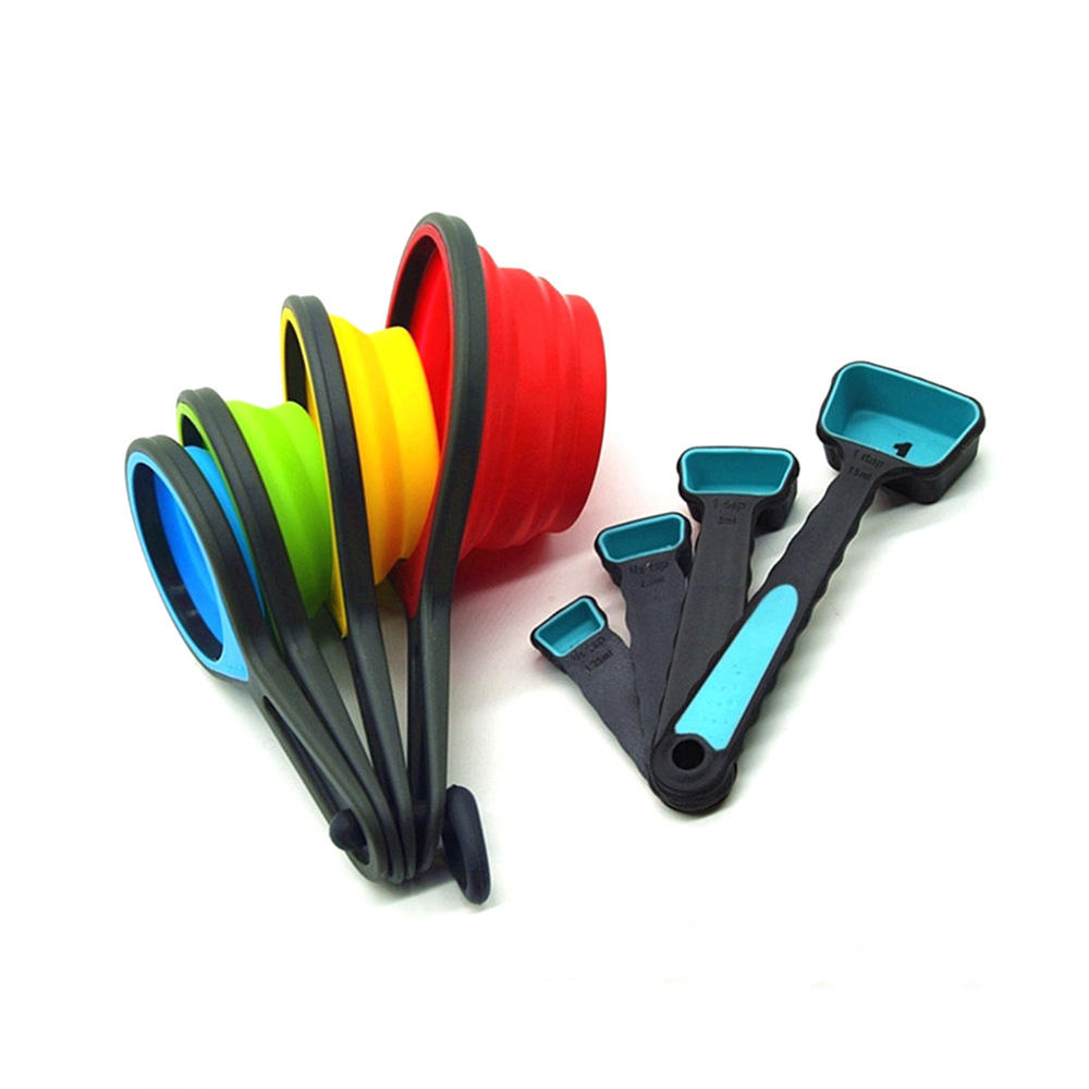 Foldable Silicone Measuring cup set, Collapsible Silicone Measuring Cups and Spoon Set