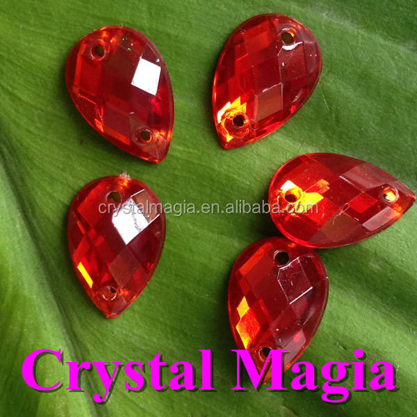 sew on flat back oval acrylic stones 10*14 red color flat back crystal strass
