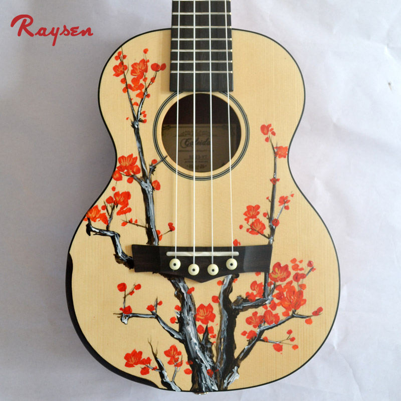 Raysen Newest Model Handmade Guitar Artist Hand Printed Colorful Ukulele China Factory