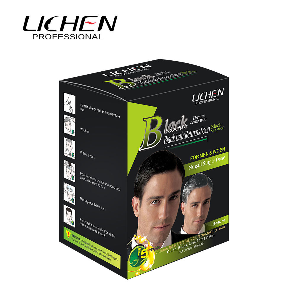 Lichen Black Hair Sachet Packing Color Fast dyeing Long Lasting OEM/ODM Acceptable
