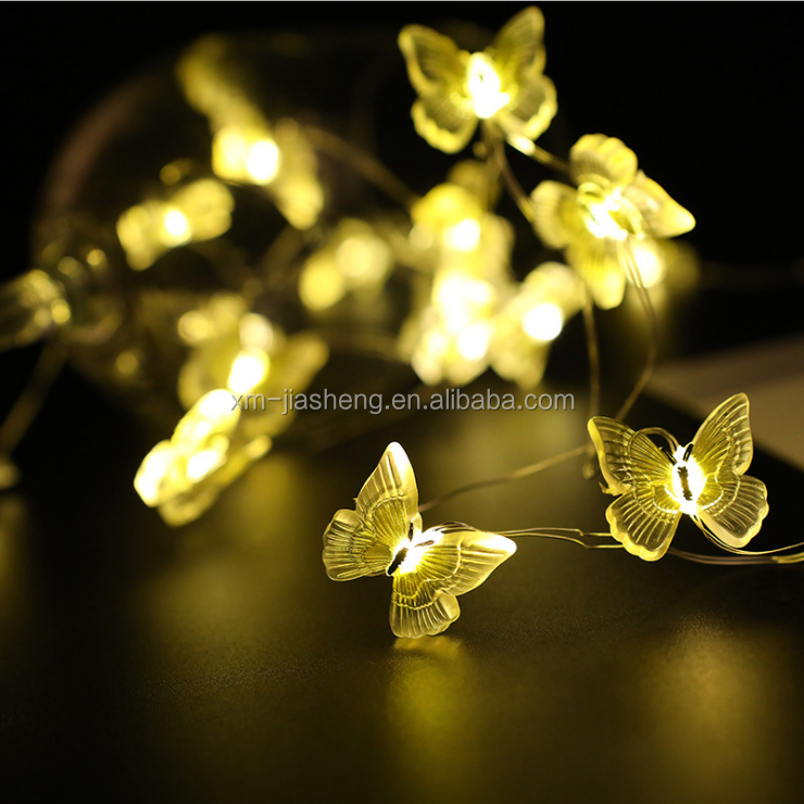 Christmas Party Wedding Decoration Hot Sell Butterfly Shaped Battery Powered Silver Copper Led Wire String Lighting