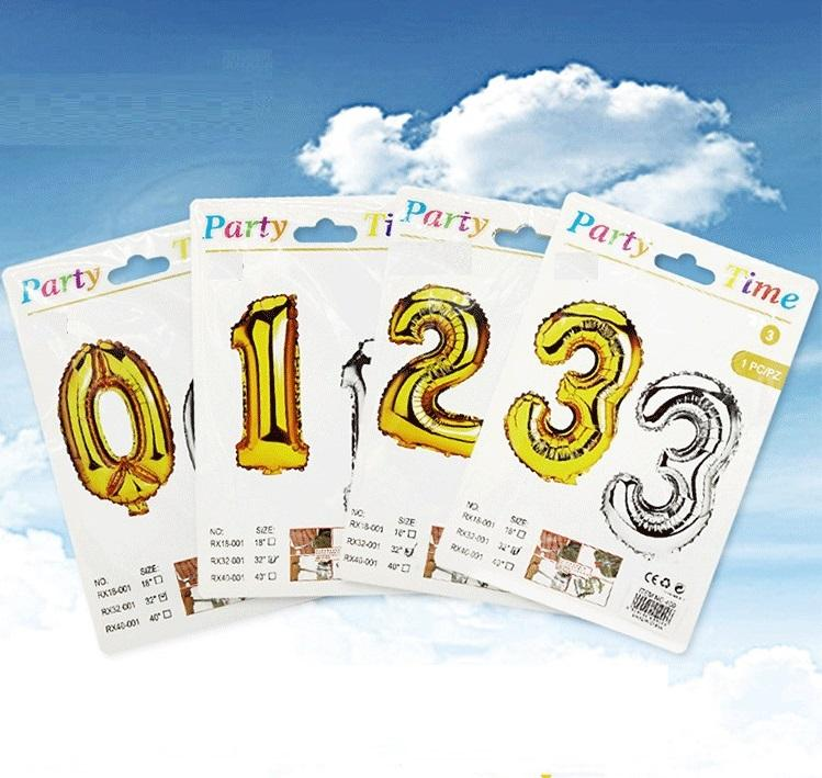 2019 hot selling 16inch 32inch 40inch gold silver paper card individual package foil number balloon Party Decorations balloon