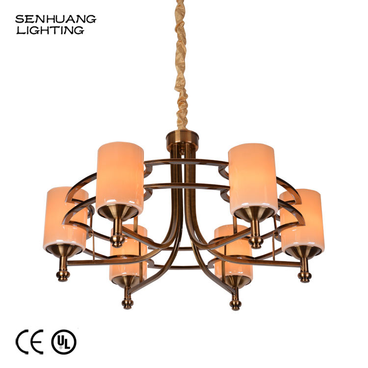 Home Decorative Customized American Style 3 5 6 9 21 E27 LED Lamp Holder Glass Lighting Iron Chandelier Light