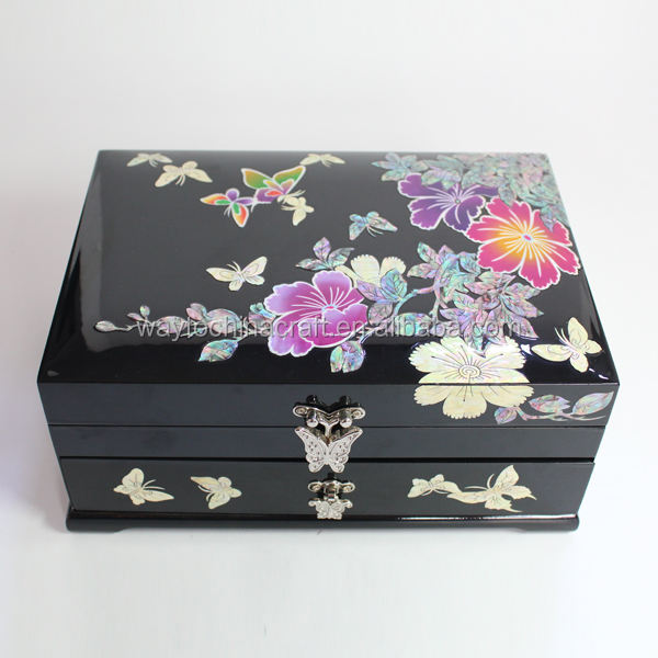 High end chinese antique wood jewelry box with mother of pearl inlaid