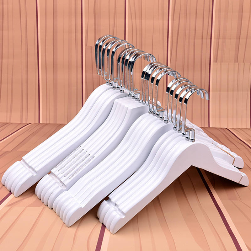 Wholesale Free Custom Logo Cheap White Color Wood Good Quality Wooden Hangers
