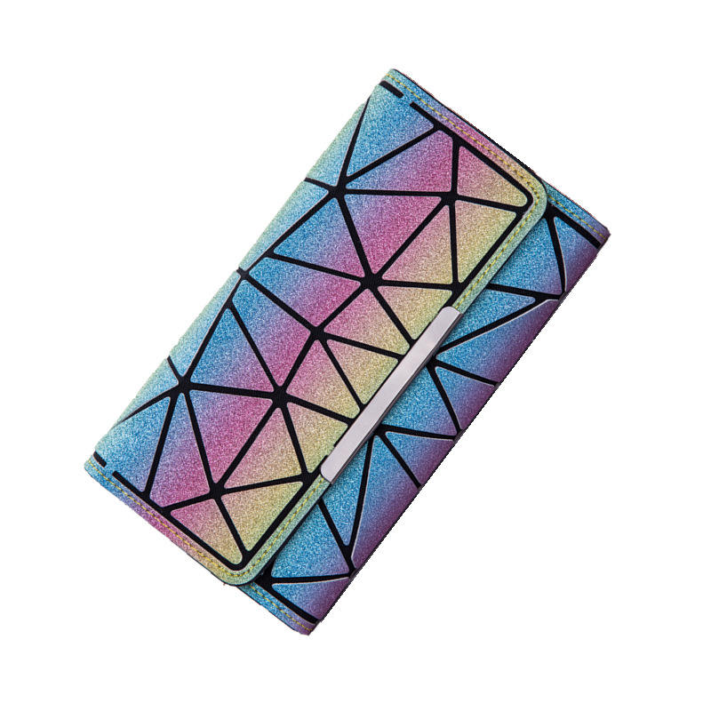 summer High quality Rainbow Sequin wallet three fold luminous purse Fashion Geometric hologram light reflective wallet for women