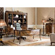 YB70-1 Luxury Executive Office Desk, Noble Italian Style Classic Reading Table/Chair/ Bookcase, Graceful Home Office Furniture