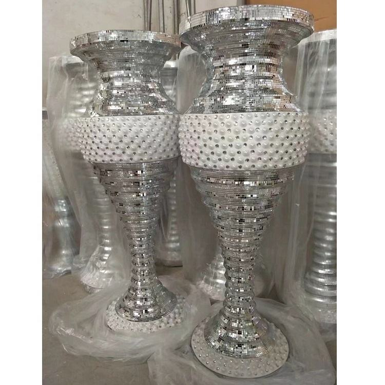 Silver Mirrored Mosaic big Floor vase wedding decoration