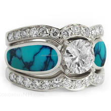 925 silver turquoise wedding ring