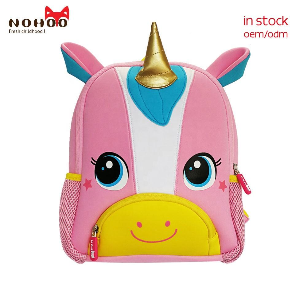 NOHOO neoprene children school bags with cartoon Unicorn Kids Baby carrier backpack