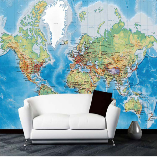 3D Wall Mural Blue World Map Rustic Simple Wallpaper For Walls