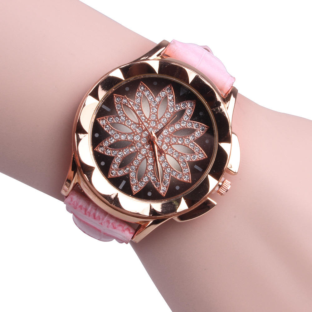 Hot Sale Fashion Lotus Diamond Women Quartz Leather Watch
