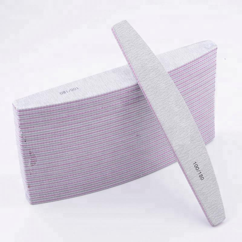 New Arrival OEM TOP Quality Japan Sandpaper Saw Shape Half Moon Zebra Nail File 180 240 wholesale