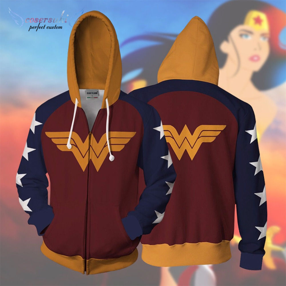Nouveau DC Comics Wonder Woman 3D Pull Imprimé Anime Sweat À Capuche Cosplay Manga Pull
