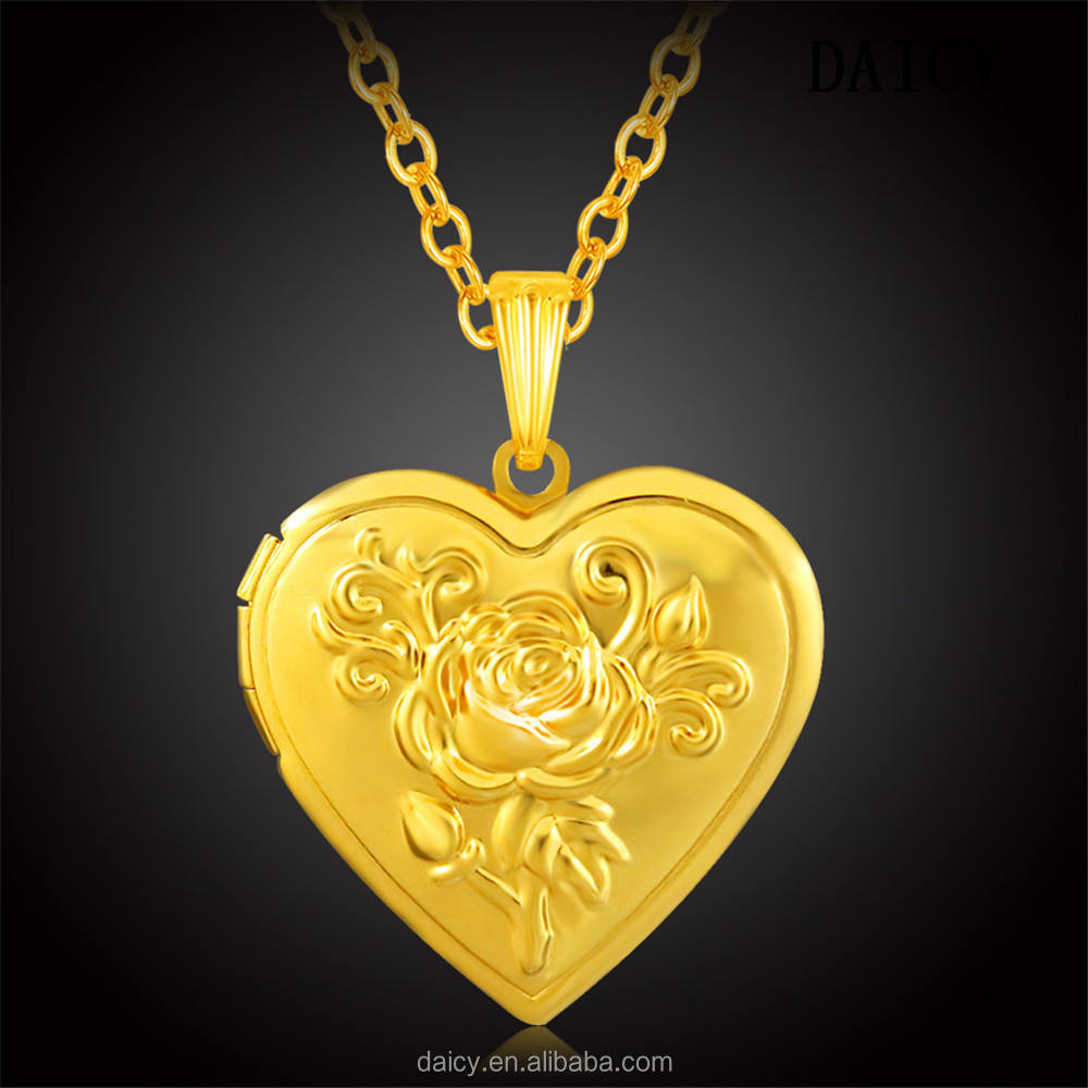 DAICY romantic memory locket vintage rose flower love heart photo frame pendant