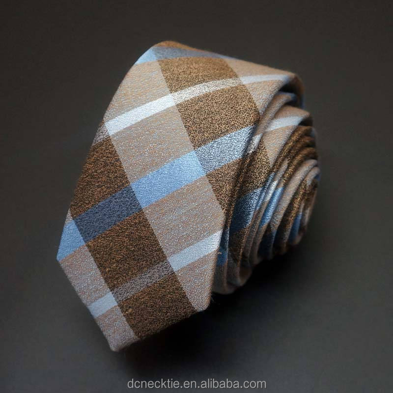 Men's Golden Plaid Silk Linen Blent Neck Tie