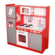 Large Red Wooden Kitchen Toy With ABS Plastic Accessories, Easy Assembly Wooden Role Play Pretend Play Kitchen