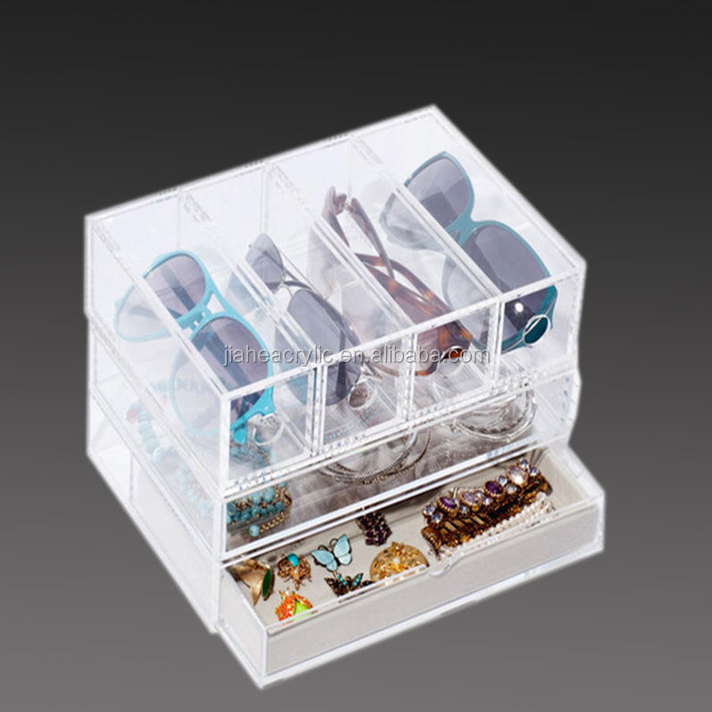 High end acrylic glasses display suitcase wholesale