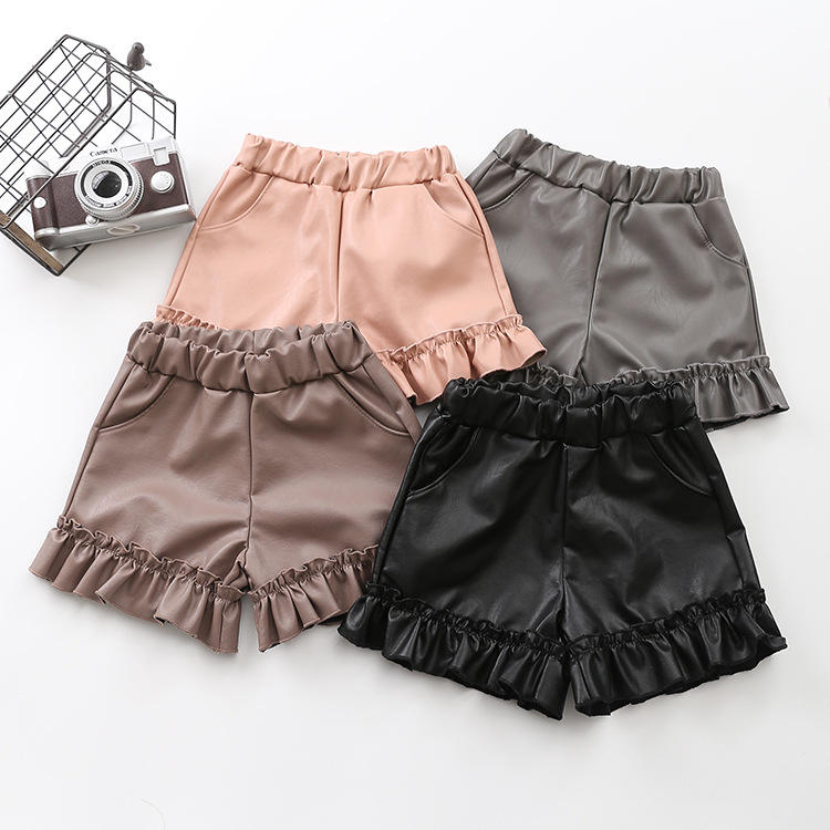 Kid Autumn Winter Clothing PU Leather Ruffle Shorts for 2-6T Children Girl Trendy Girl Short Pants Girl School Shorts