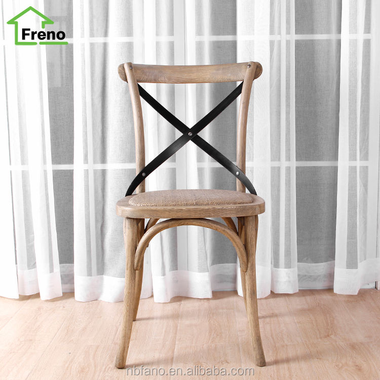 FN-4000 Wooden Cross Back Chair French Style X Back Chair Commercial dining Chair