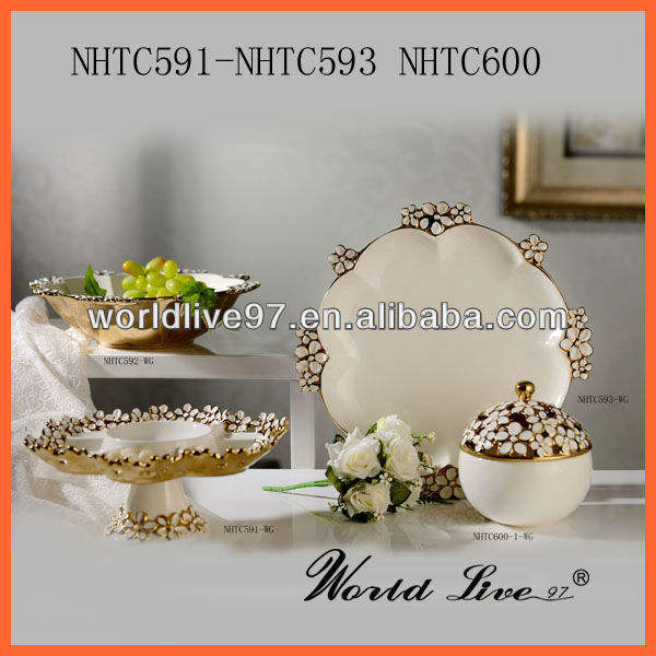 NHTC603-WG white and golden decorative fruit platter