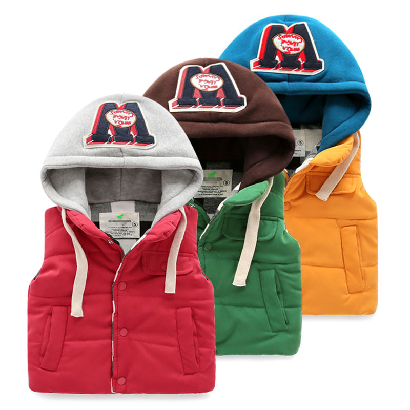 China Suppliers Children Boys Thick Padded Hoodie Vest For Winter