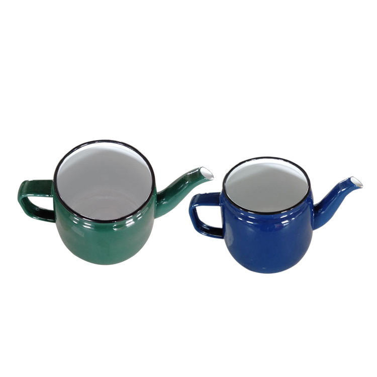 2019 Ename Tea kettle with rolled blue rim custom logo and decal printing accept