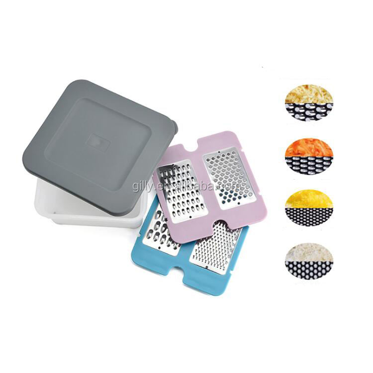 Kitchen 4pcs stainless steel cheese grater set with eco-friendly storage box ginger grater