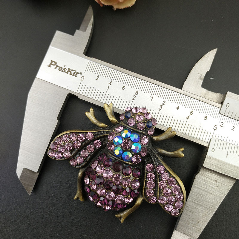 50mm Vintage Bee Brooch Pin Bronze Plated Purple Rhinestone Crystal Animal Insect Brooches for Ladies Women Dress Deco
