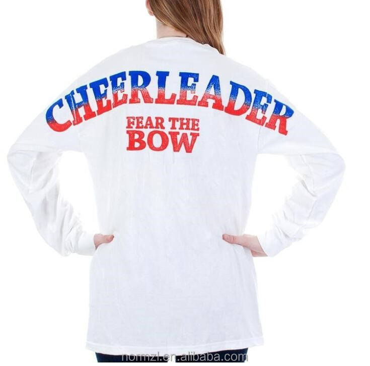 Cheerleader All star jersey Cheerleading Langarm t-shirt OEM plus größe mädchen hemd