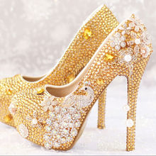BS042 Shoes Women's Pumps Gold Wedding Shoe Bling High Heels Round Toe Party Shoes Drop Shipping