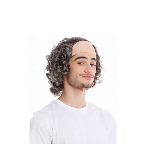Fancy Dress Bald Baldy Comb Over Grandad Grey Adulte Balding Man Cap /& Wig