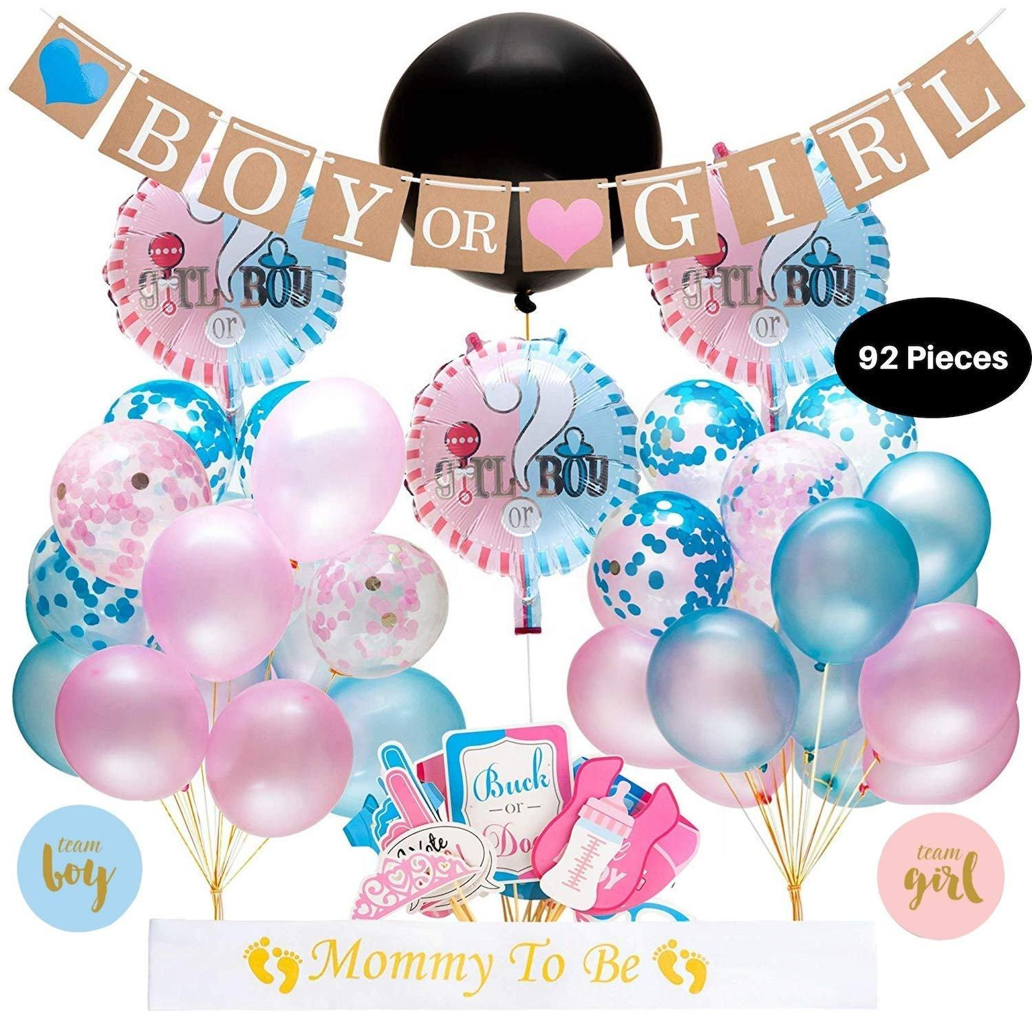 Boomwow Amazon Bestseller Geslacht Onthullen Confetti Ballonnen Jongen Of Meisje Photo Booth Props Party Decoration Baby Douche Set