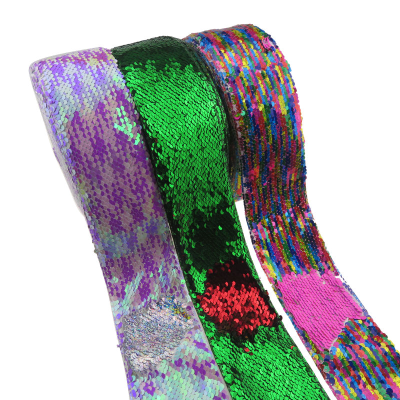 3 inch wide 75 mm Reversible Sequin Fabric Grosgrain Ribbon