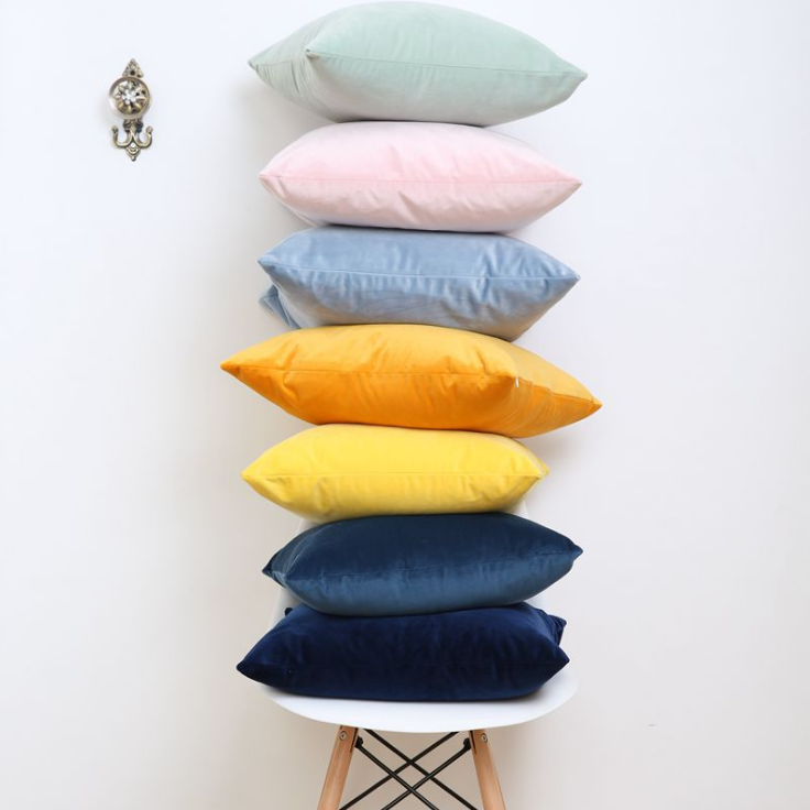 Promotional Solid Color Velvet Cushion Cover Super Soft Decorative Velvet Cushion Cover