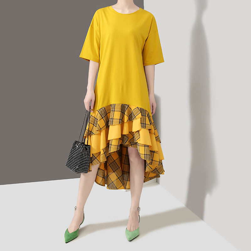 2019 Korean Style Women Summer Yellow Sun Dress Short Sleeve Ruffles Hem Girls Loose Midi Sundress Casual Dress Robe Femme 5035