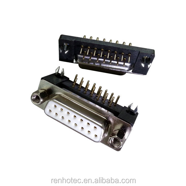 90 Degree Dsub 15 Pin Two Rows Female DR 15 Pin Connector