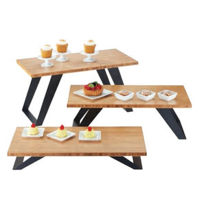 Einzigartige catering utenlis buffet riser 3 tier holz display stand/holz lebensmittel display rack/display rack holz